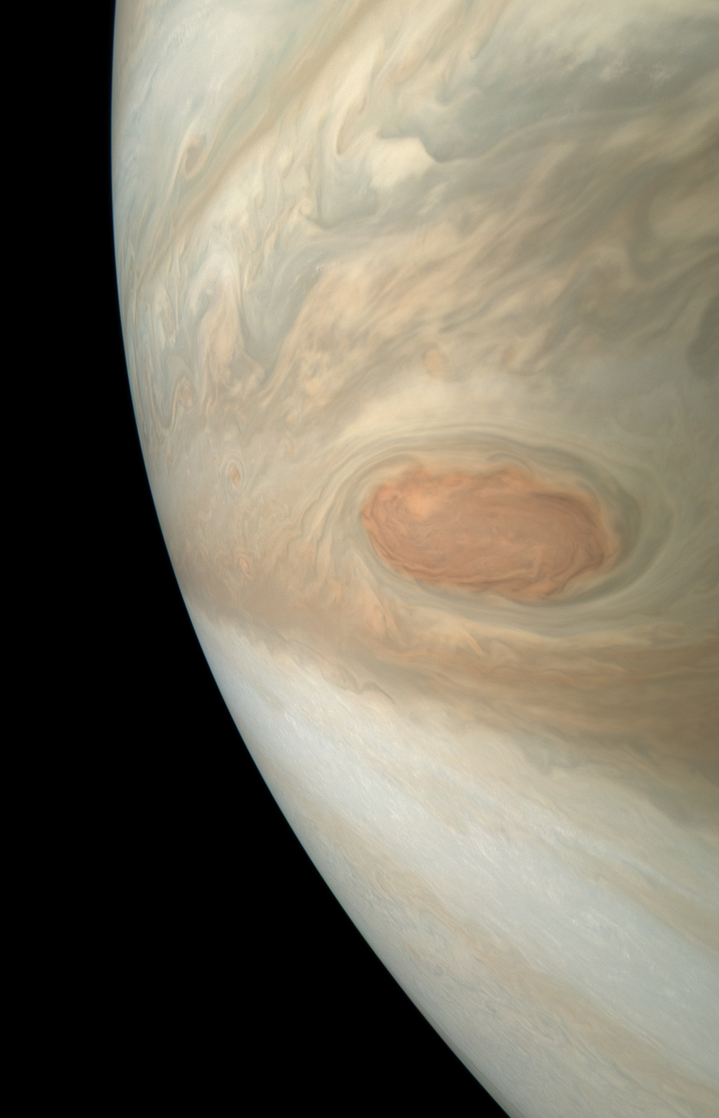 A swirling storm somersaults through Jupiter's South Equatorial Belt in this view taken by NASA's Juno spacecraft. This feature is not to be confused with the planet's iconic Great Red Spot.