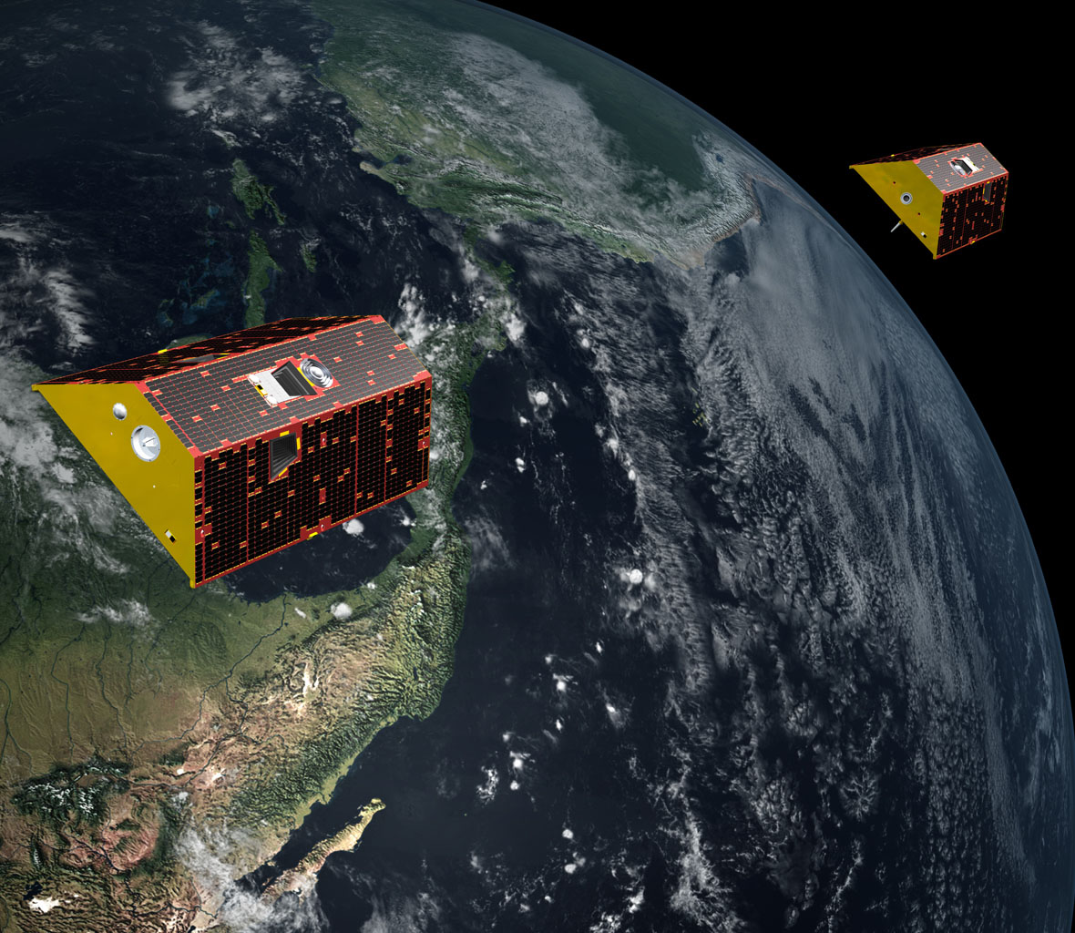 Illustration of the twin spacecraft of the NASA/German Research Centre for Geosciences (GFZ) GRACE-FO mission. GRACE-FO will continue tracking the evolution of Earth's water cycle by monitoring changes in the distribution of mass on Earth.