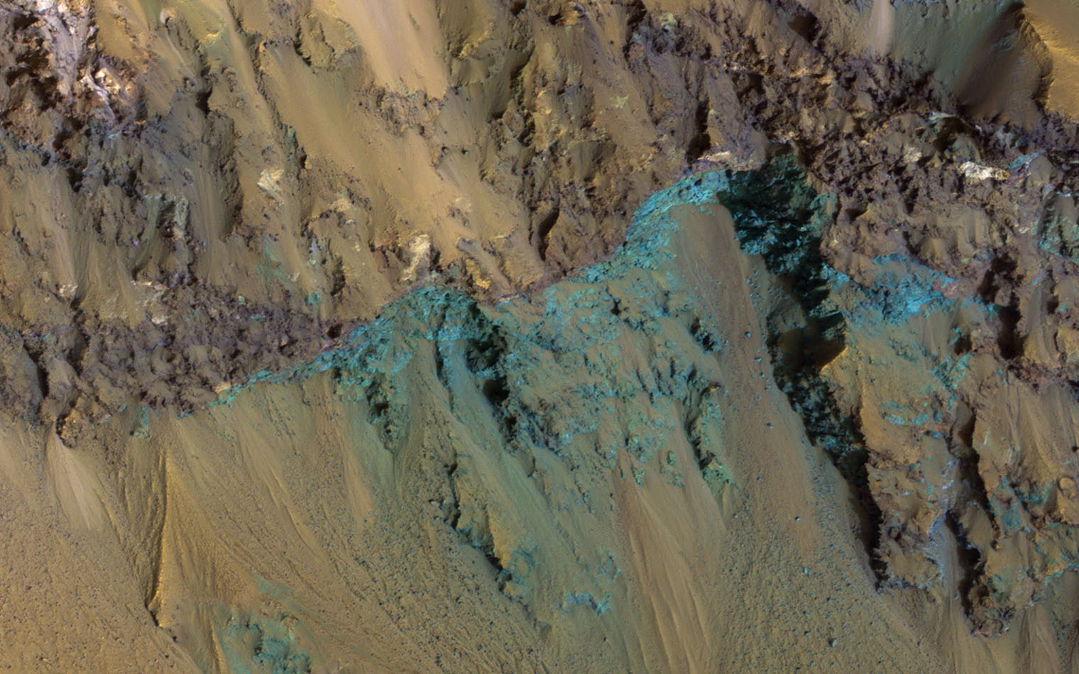 This image from NASA's Mars Reconnaissance Orbiter shows Hale Crater, a large impact crater (more than 100 kilometers) with a suite of interesting features such as active gullies, active recurring slope lineae, and extensive icy ejecta flows.