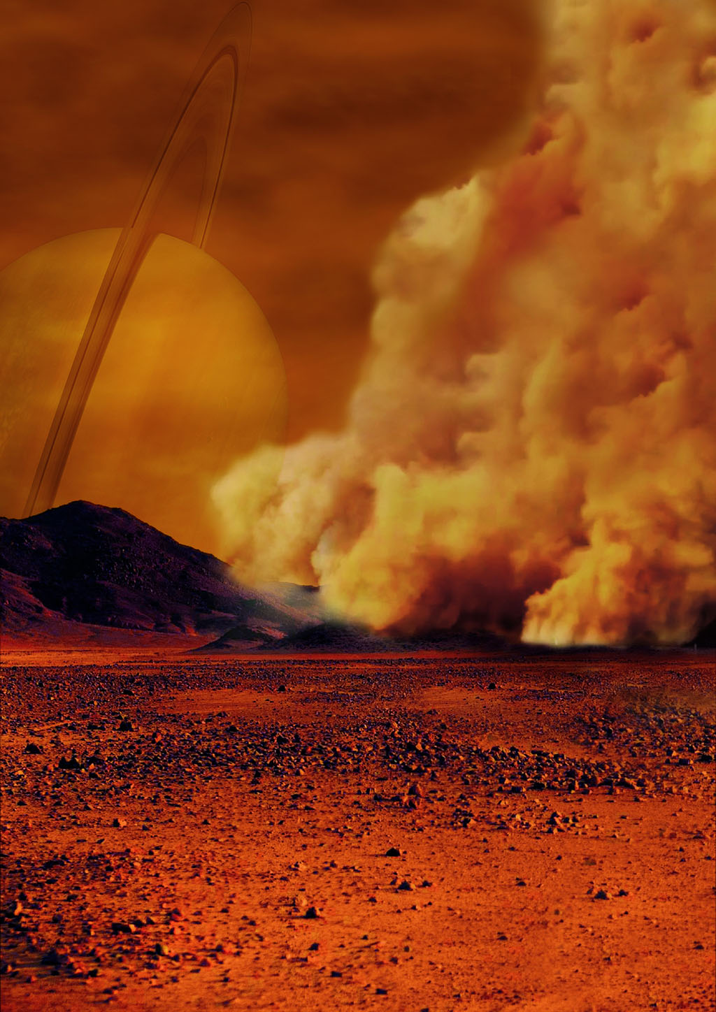 Artist's impression, dust storm on Titan (PGP/Labex UnivEarthS/University Paris Diderot – C. Epitalon & S. Rodriguez)