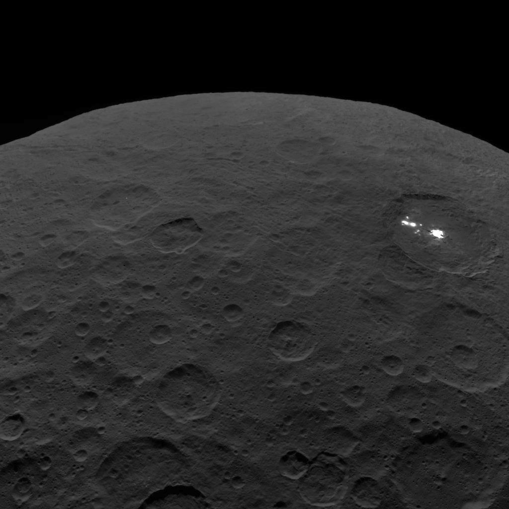 This image of Ceres and the bright regions in Occator Crater was one of the last views obtained by NASAs Dawn spacecraft on September 1, 2018 from an altitude of 2,340 miles (3,370 kilometers).