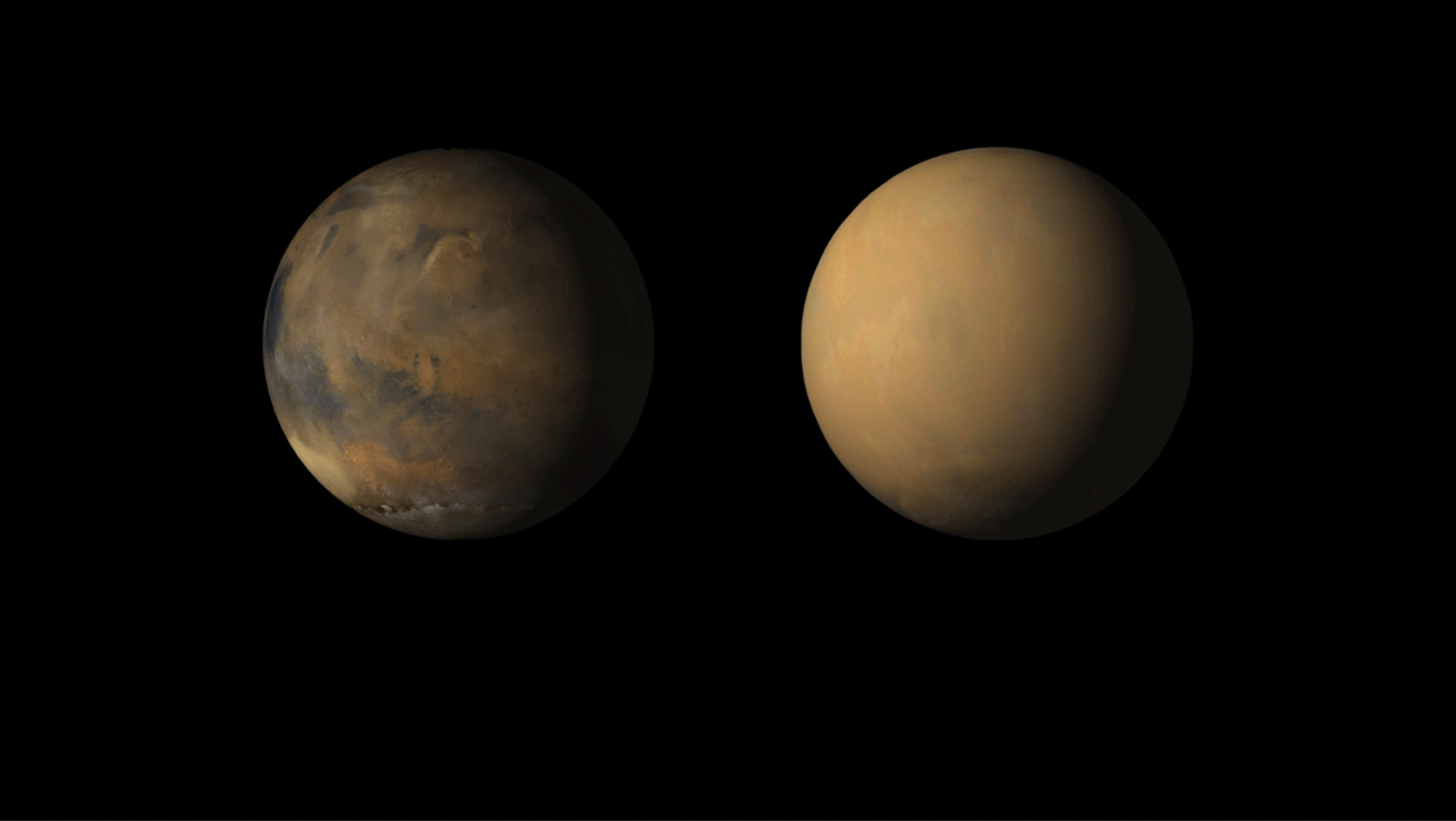 This image shows how dust has enveloped the Red Planet. NASA's Mars Reconnaissance Orbiter shows views of Valles Marineris chasms (left) and an autumn dust storm in Acidalia (right) and the early spring south polar cap.