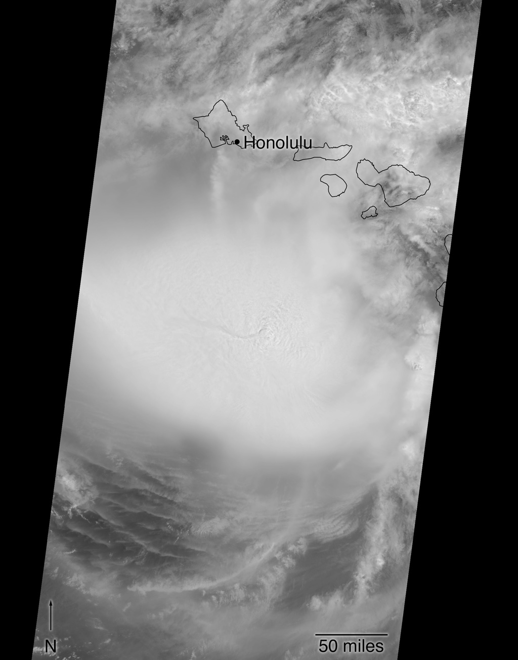 Hurricane Lane as viewed by the MISR instrument onboard NASA's Terra satellite on Aug. 24, 2018. The length of the arrows is proportional to the wind speed, while their color shows the altitude of the cloud tops in kilometers.