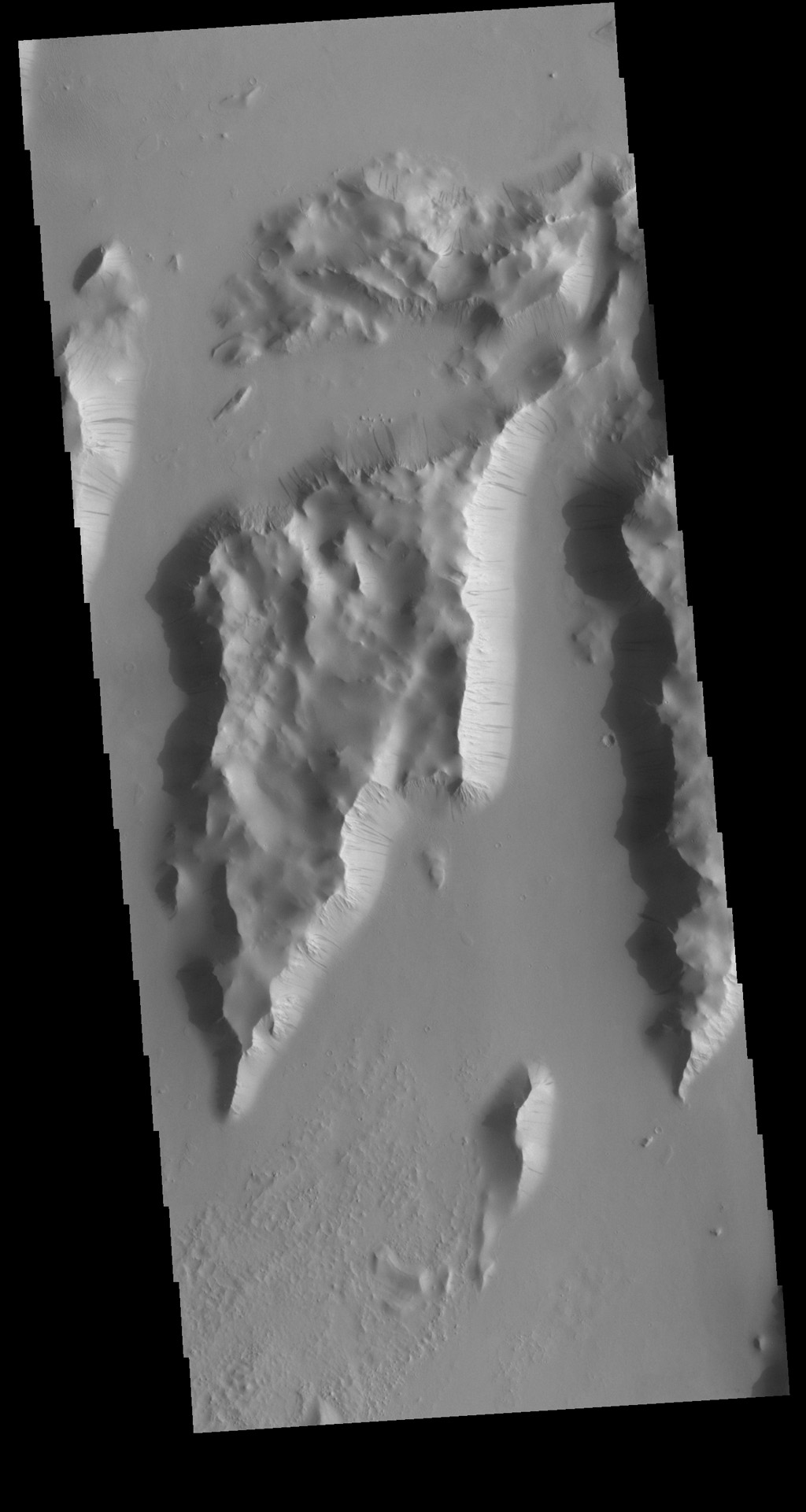 This image from NASA's Mars Odyssey shows Lycus Sulci, a very complex region surrounding the northern and western flanks of Olympus Mons featuring some of the tectonic ridges as well as the dark slope streaks that are common in this region.