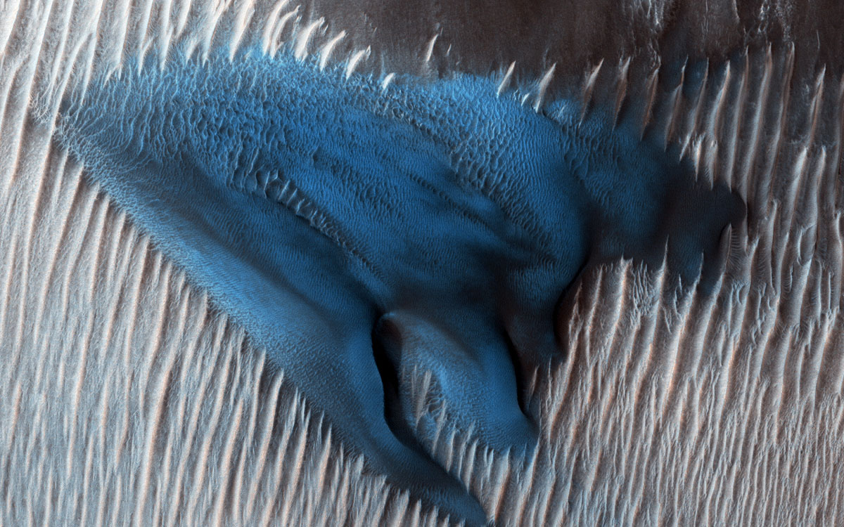 In this region of Lyot Crater, NASA's Mars Reconnaissance Orbiter shows a field of classic barchan dunes. Sand dunes often accumulate in the floors of craters on Mars.