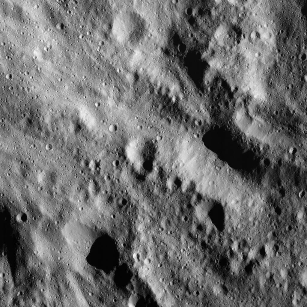 This image of smooth material on Ceres was obtained by NASA's Dawn spacecraft on June 9, 2018 from an altitude of about 41 miles (66 kilometers).
