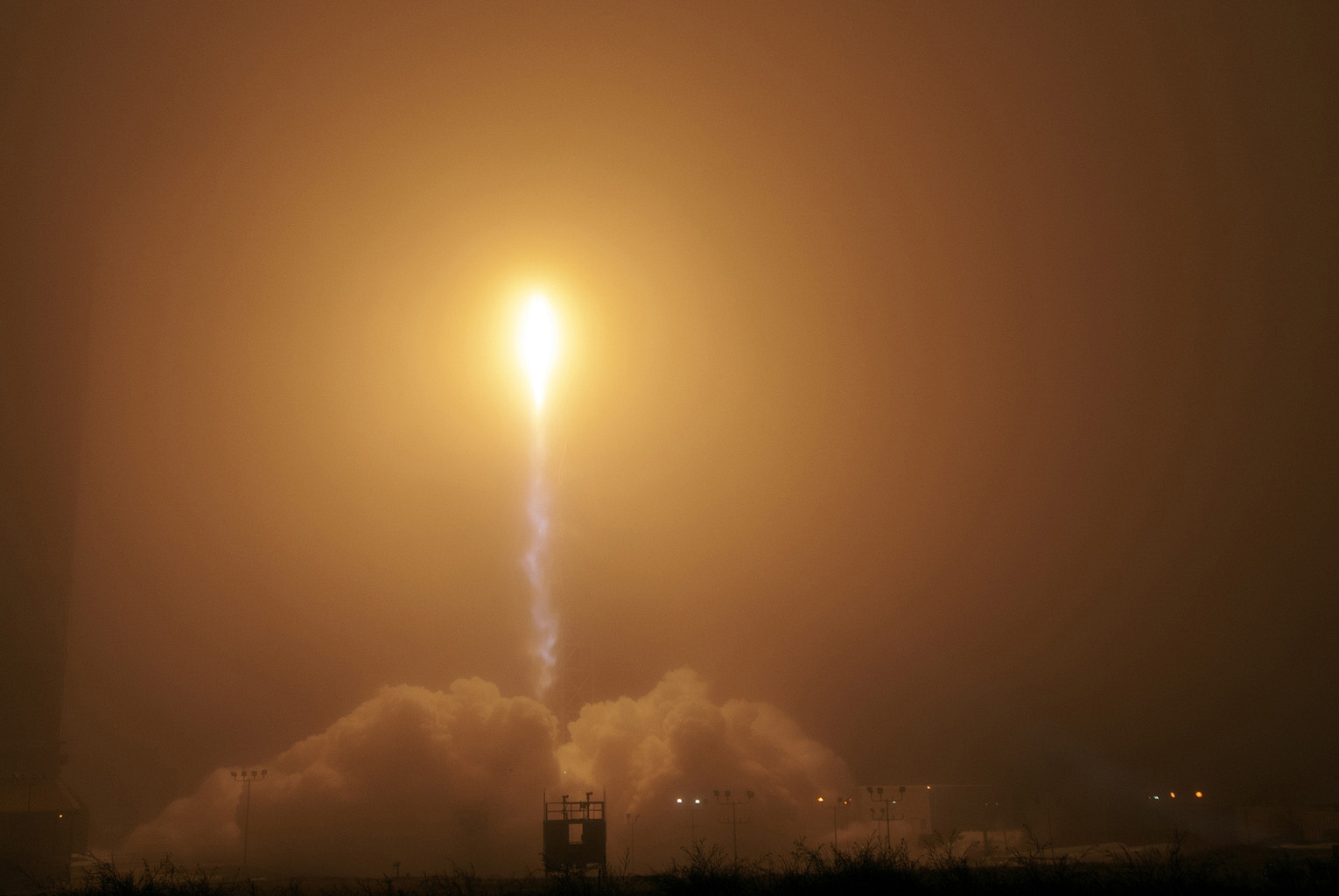 A United Launch Alliance Atlas V rocket lifts off from Space Launch Complex 3 at Vandenberg Air Force Base, Ca., carrying NASA's InSight Mars lander. Liftoff was on May 5, 2018 at 4:05 a.m. PDT.