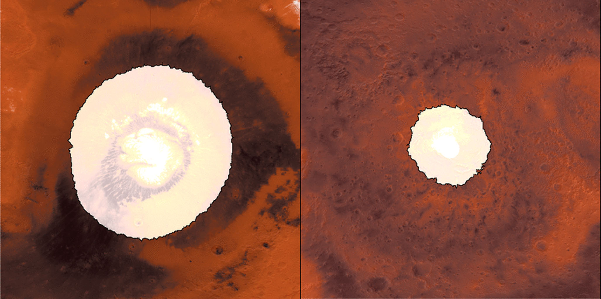 This image shows a side-by-side comparison from from NASA two infrared instruments of CO2 ice at the north (left) and south (right) Martian poles over the course of a typical year (two Earth years).