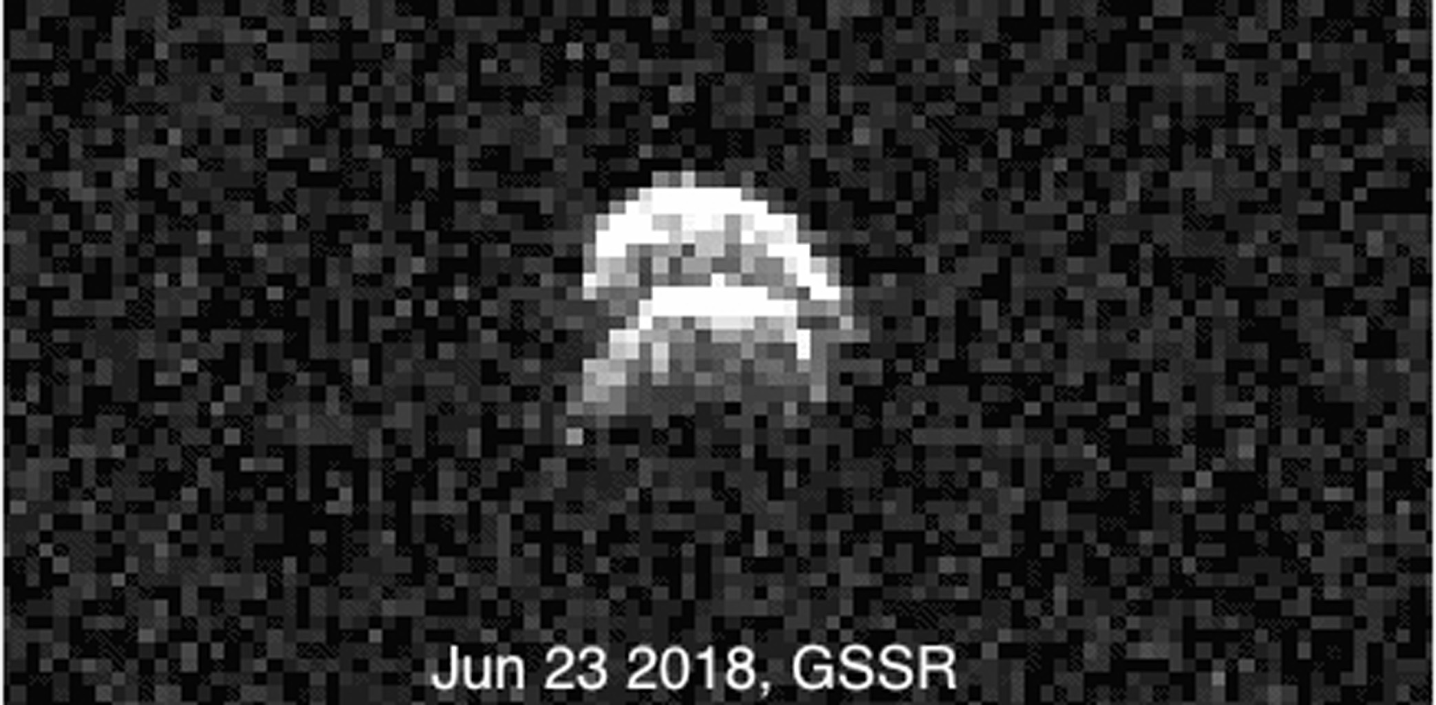 Radar images of the binary asteroid 2017 YE5 from NASA's Goldstone Solar System Radar (GSSR). The observations, conducted on June 23, 2018, show two lobes, but do not yet show two separate objects.