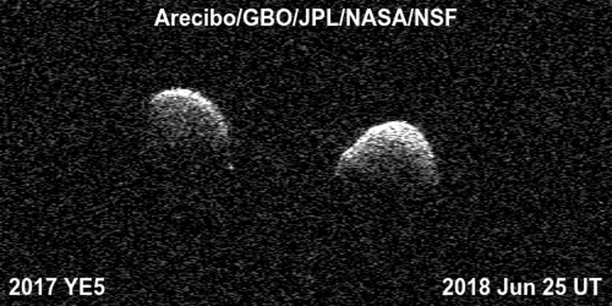 Bi-static radar images of the binary asteroid 2017 YE5 from the Arecibo Observatory and the Green Bank Observatory on June 25. The observations show that the asteroid consists of two separate objects in orbit around each other.