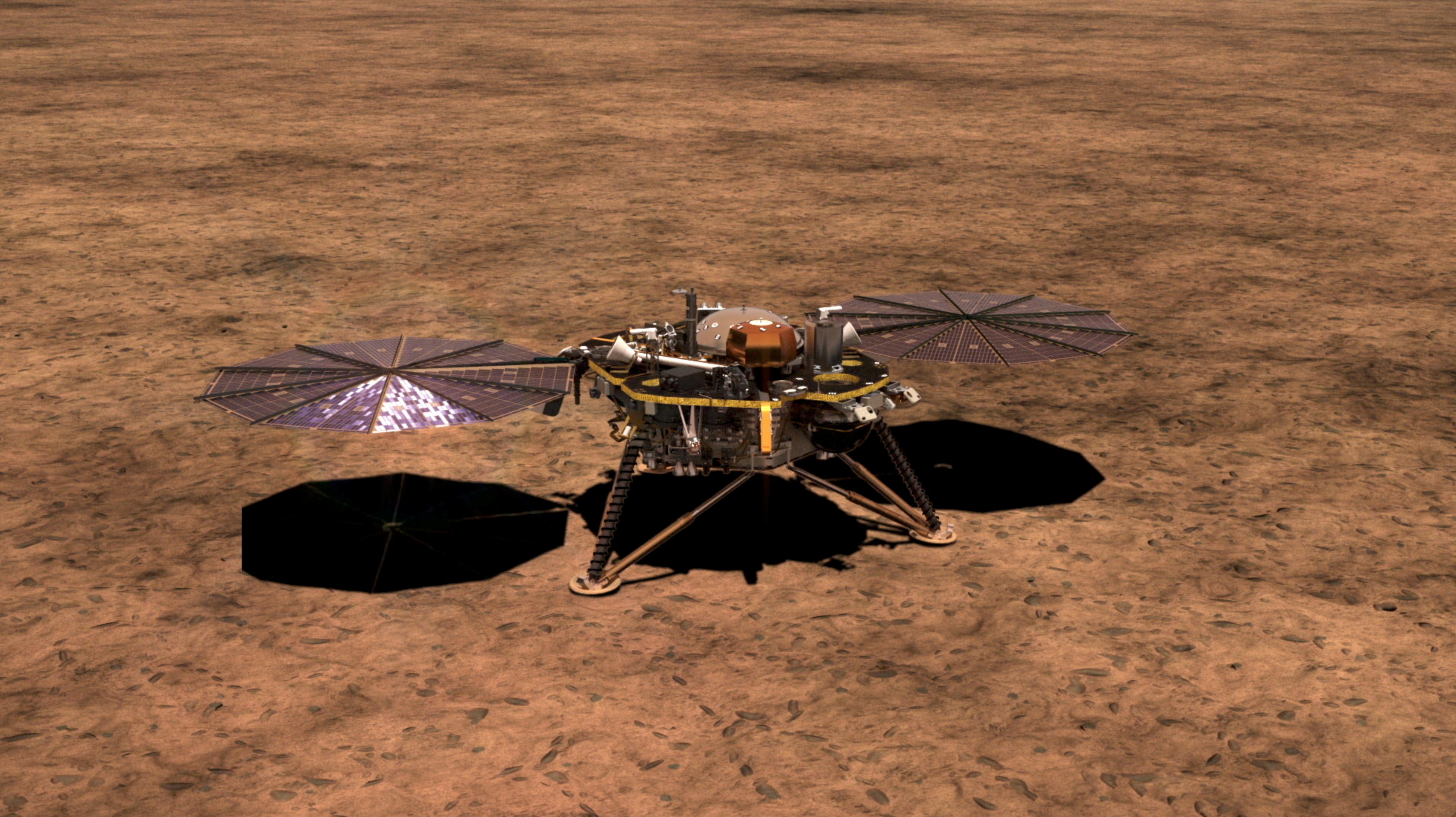This artists illustration shows NASAs InSight lander on the surface of Mars, with its solar arrays deployed.