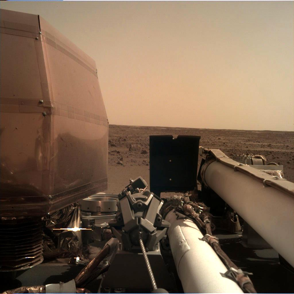 The Instrument Deployment Camera (IDC) on NASAs InSight lander took this image of the Martian surface on Nov. 26, 2018.