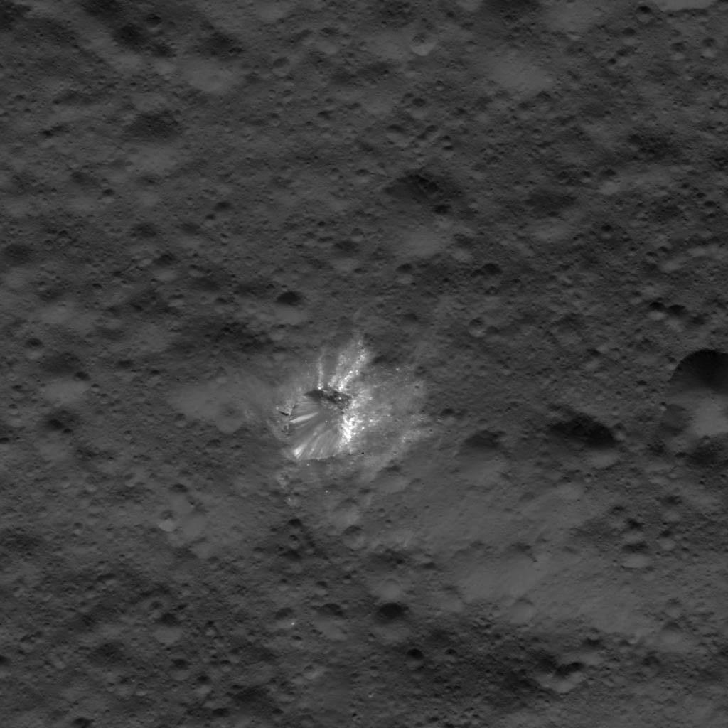 This image of a bright crater on Ceres was obtained by NASA's Dawn spacecraft on July 17, 2018 from an altitude of about 25 miles (41 kilometers).