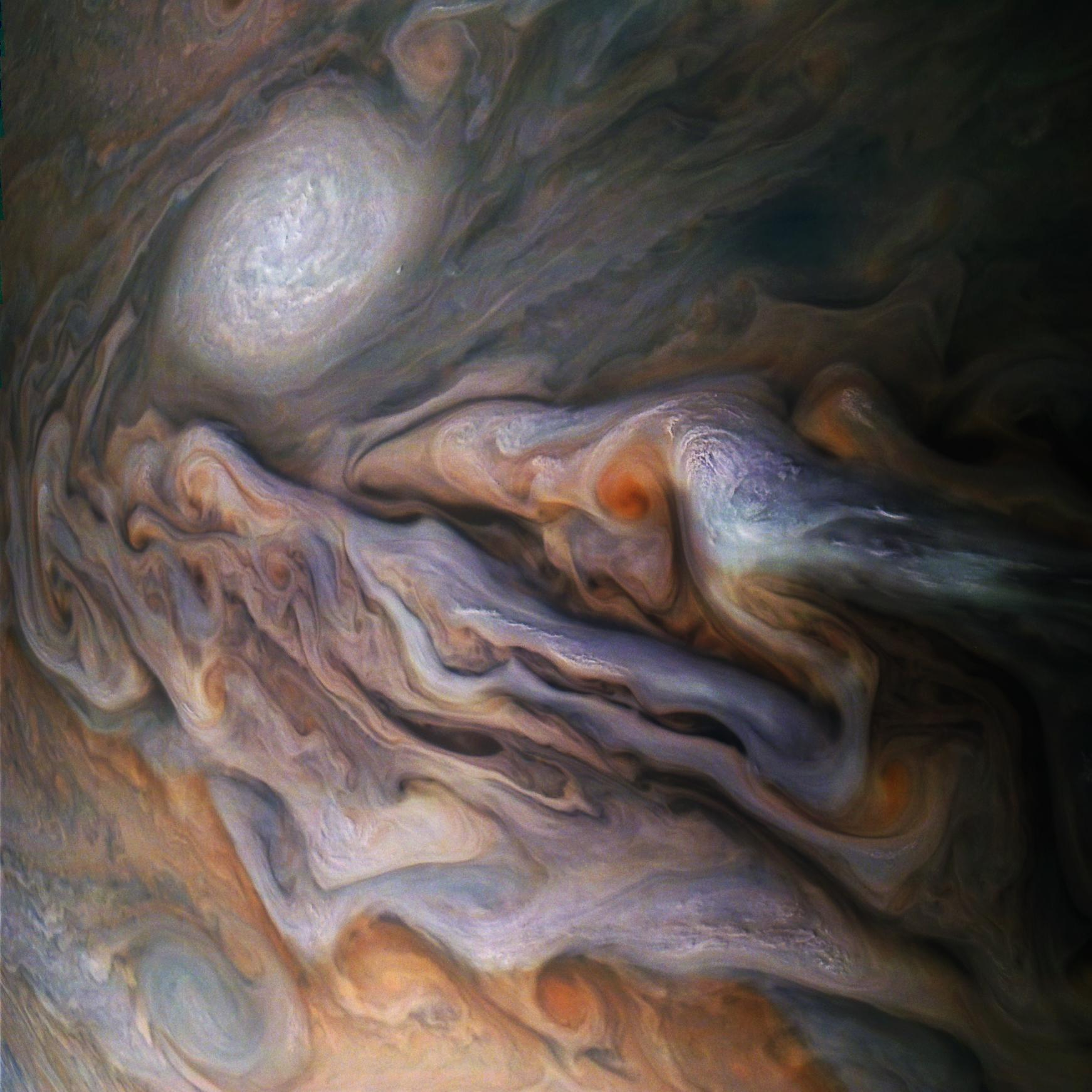 A multitude of magnificent, swirling clouds in Jupiters dynamic North North Temperate Belt is captured in this image from NASAs Juno spacecraft.