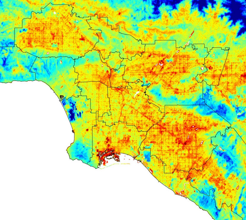 ECOSTRESS, NASA's Earth-observing mission, captured surface temperature variations in Los Angeles, California between July 22 and August 14, a period of extended heat, at different times of day.