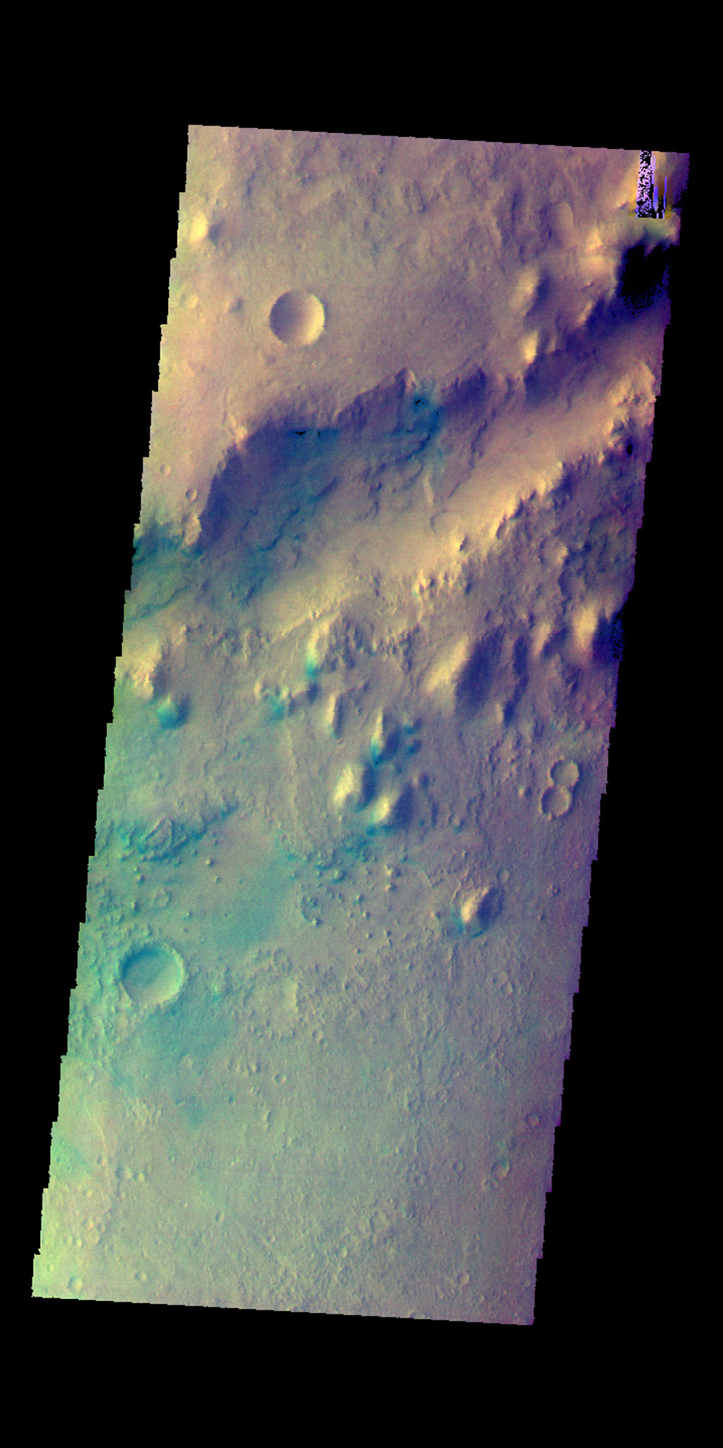 This image from NASA's Mars Odyssey shows a small section of Nili Fossae. The darker blue tones are usually indications of basaltic sands.