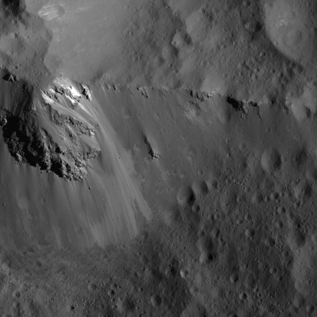 This image of a large block along the ridge of Urvara Crater was obtained by NASAs Dawn spacecraft on July 24, 2018 from an altitude of about 36 miles (58 kilometers).