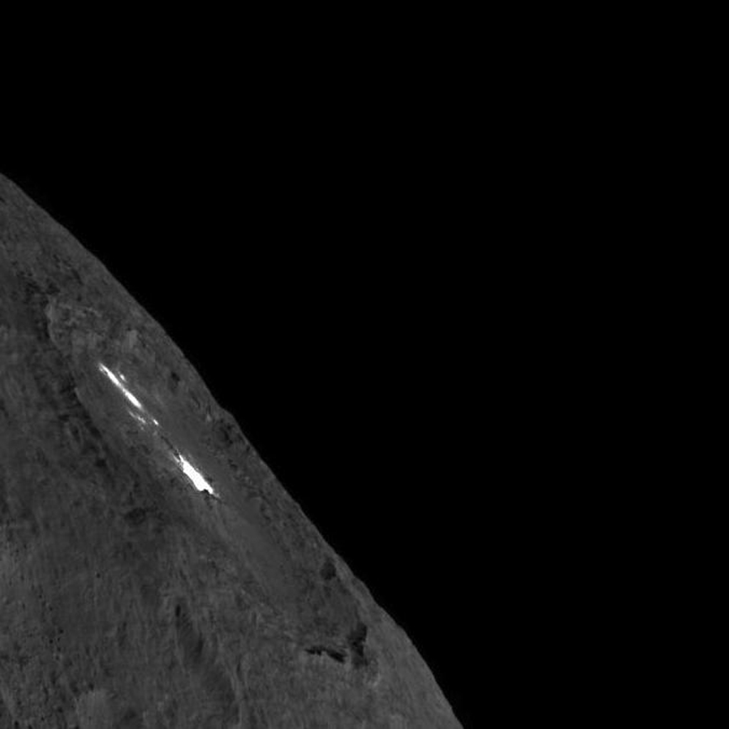 This image of Occator Crater on Ceres limb -- long exposure -- was obtained by NASAs Dawn spacecraft on August 14, 2018 from an altitude of about 1149 miles (1849 kilometers).