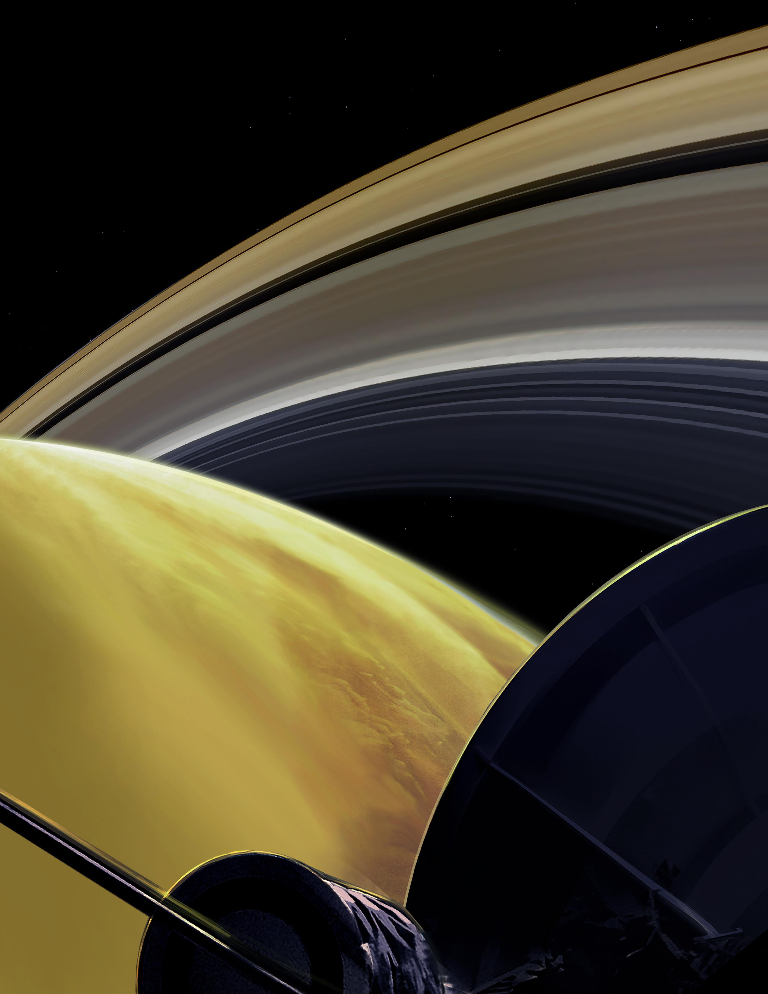 This illustration imagines the view from NASAs Cassini spacecraft during one of its final dives between Saturn and its innermost rings, as part of the missions Grand Finale.