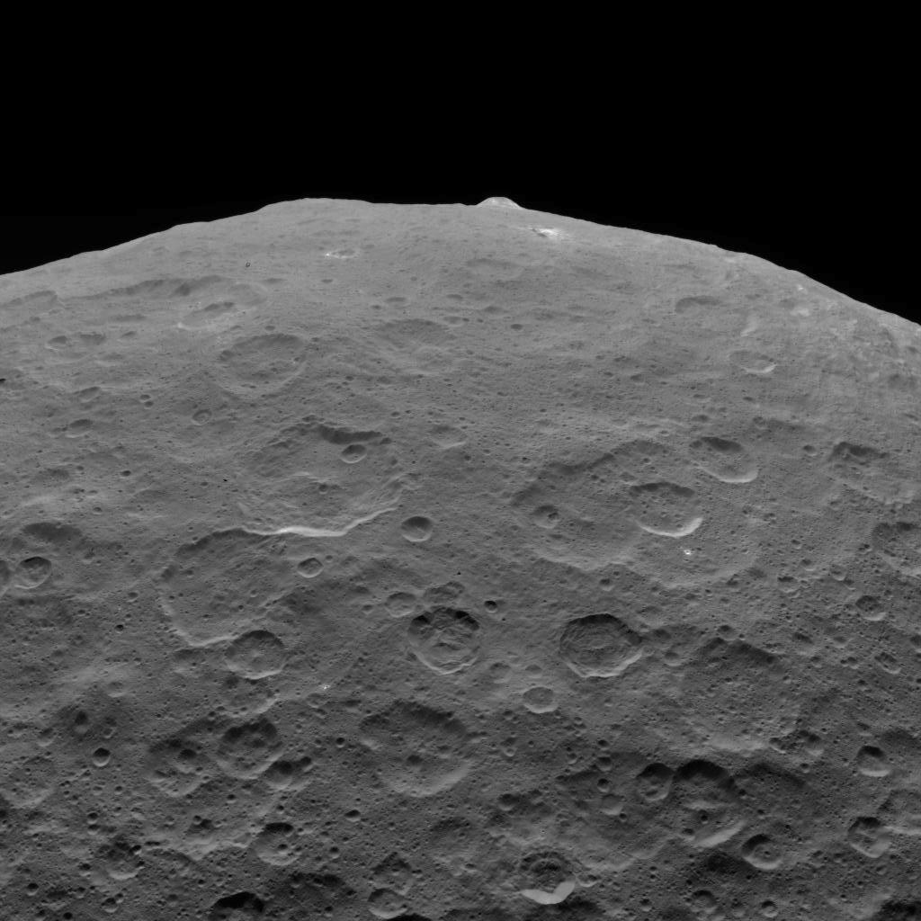 This image of Ceres and one of its key landmarks, Ahuna Mons, was one of the last views obtained by NASAs Dawn spacecraft on September 1, 2018 from an altitude of 2,220 miles (3,570 kilometers).