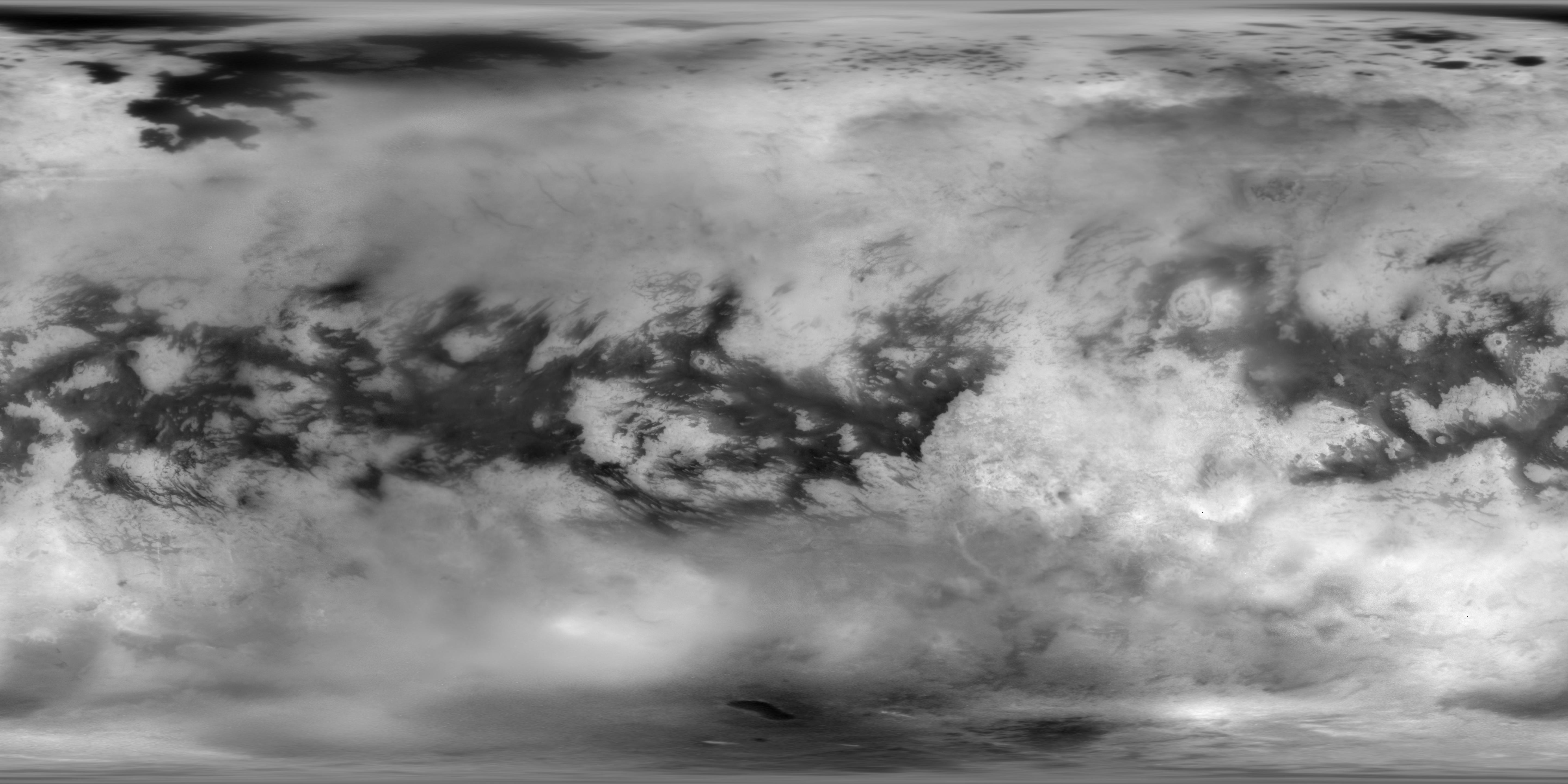 This global mosaic of Titans surface was generated by combining 9,873 separate ISS images taken by NASAs Cassini spacecraft over more than 13 years of Cassini operations at Saturn.