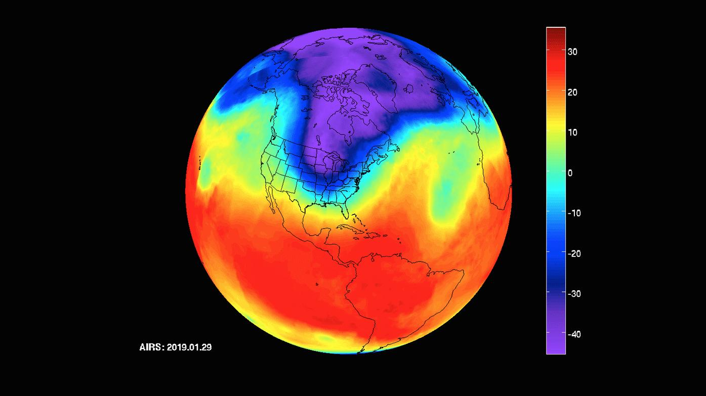 NASAs Atmospheric Infrared Sounder (AIRS) instrument captures a polar vortex moving from Central Canada into the U.S. Midwest from January 20 through January 29, 2019.