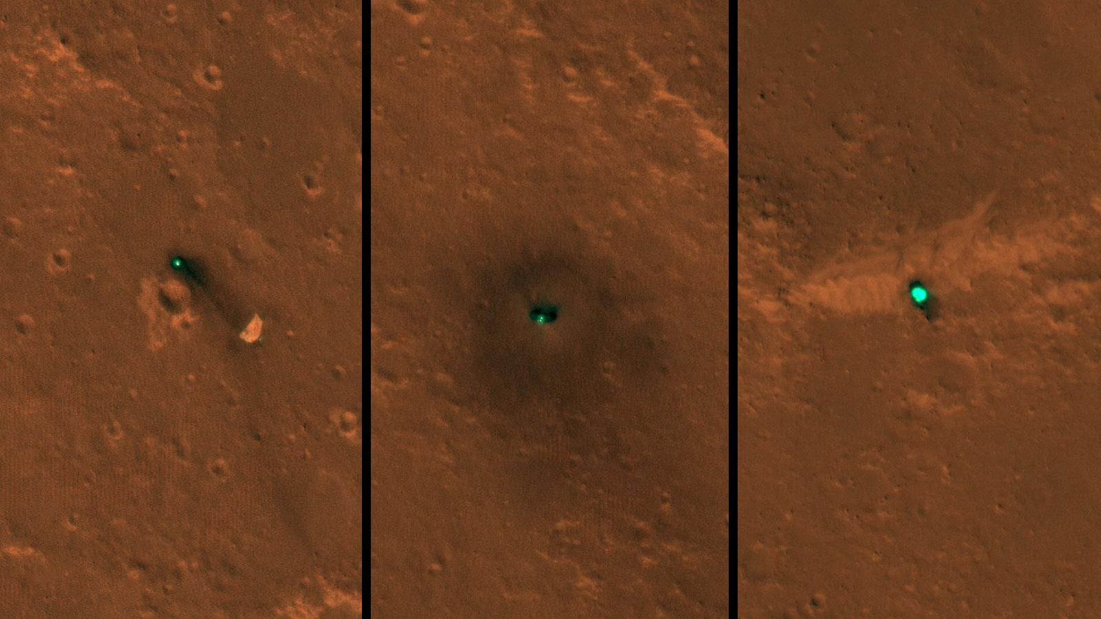 NASAs InSight spacecraft, its heat shield and its parachute were imaged on Dec. 6 and 11 by the HiRISE camera onboard NASAs Mars Reconnaissance Orbiter.