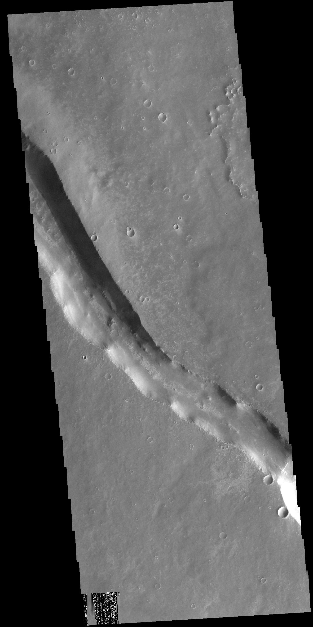 This image from NASAs Mars Odyssey shows a linear depression in Syria Planum. Volcanic activity created this region of the Tharsis system south of Noctis Labyrinthus.