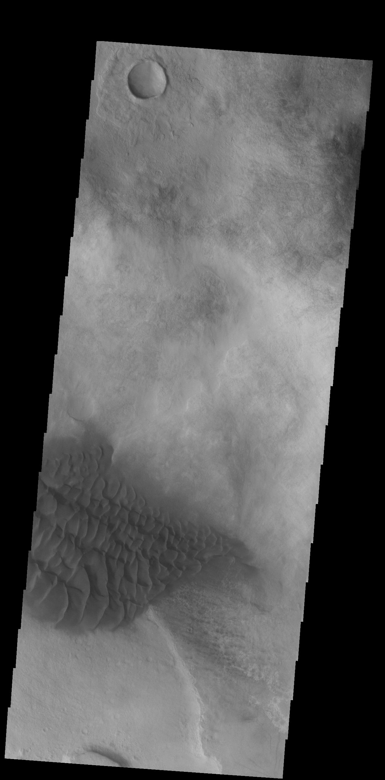 This image from NASAs Mars Odyssey shows Halley Crater, located on the western side of Argyre Planitia. Sand dunes cover part of the crater floor.
