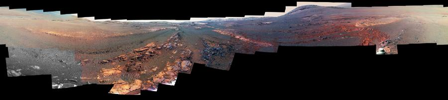 This is the last panorama NASAs Opportunity rover acquired before the solar-powered rover succumbed to a global Martian dust storm on June 10, 2018.