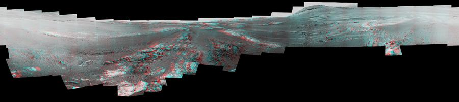 This image is an anaglyph version of the last 360-degree panorama taken by the Opportunity rovers Pancam from May 13 through June 10, 2018. The panorama appears in 3D when seen through blue-red glasses with the red lens on the left.