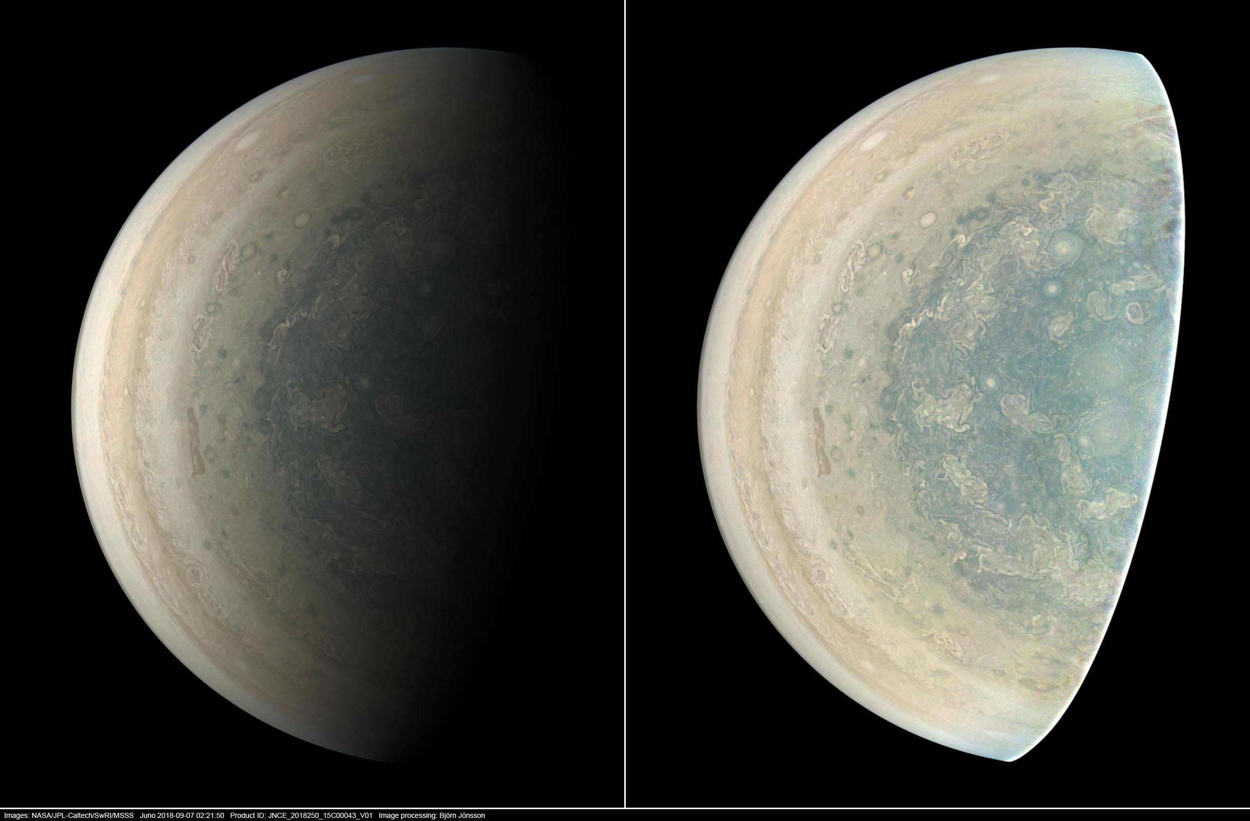 Jupiters southern circumpolar cyclones are captured in this image from NASAs Juno spacecraft.