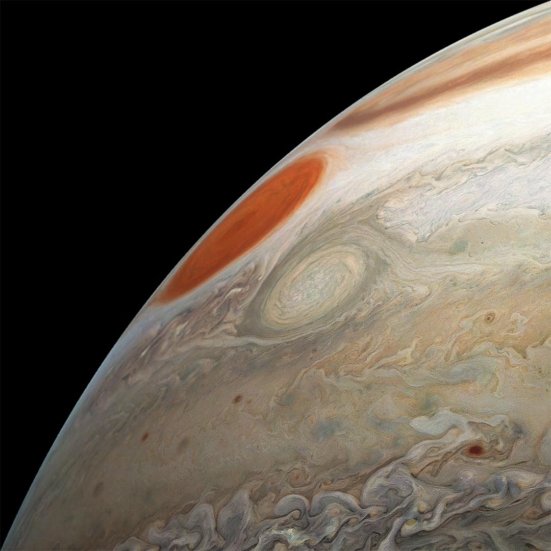 This image of Jupiters turbulent southern hemisphere was captured by NASAs Juno spacecraft as it performed its most recent close flyby of the gas giant planet on Dec. 21, 2018.