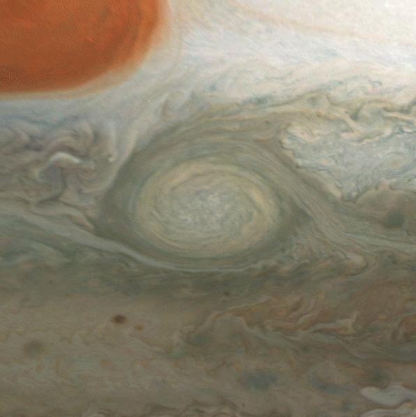 A giant, spiraling storm in Jupiters southern hemisphere is captured in this animation from NASAs Juno spacecraft.