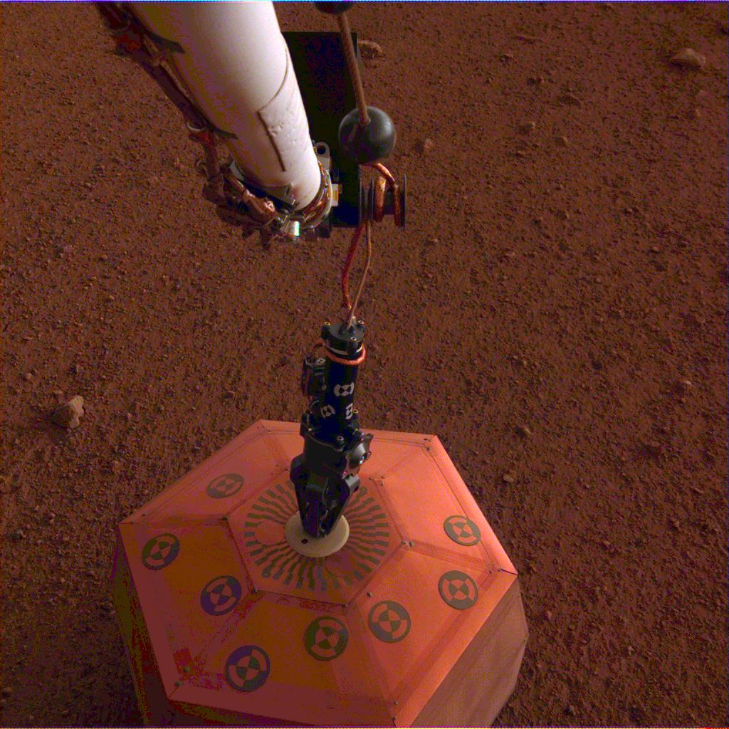NASAs InSight lander placed its seismometer on Mars on Dec. 19, 2018. This was the first time a spacecraft robotically placed a seismometer onto the surface of another planet.