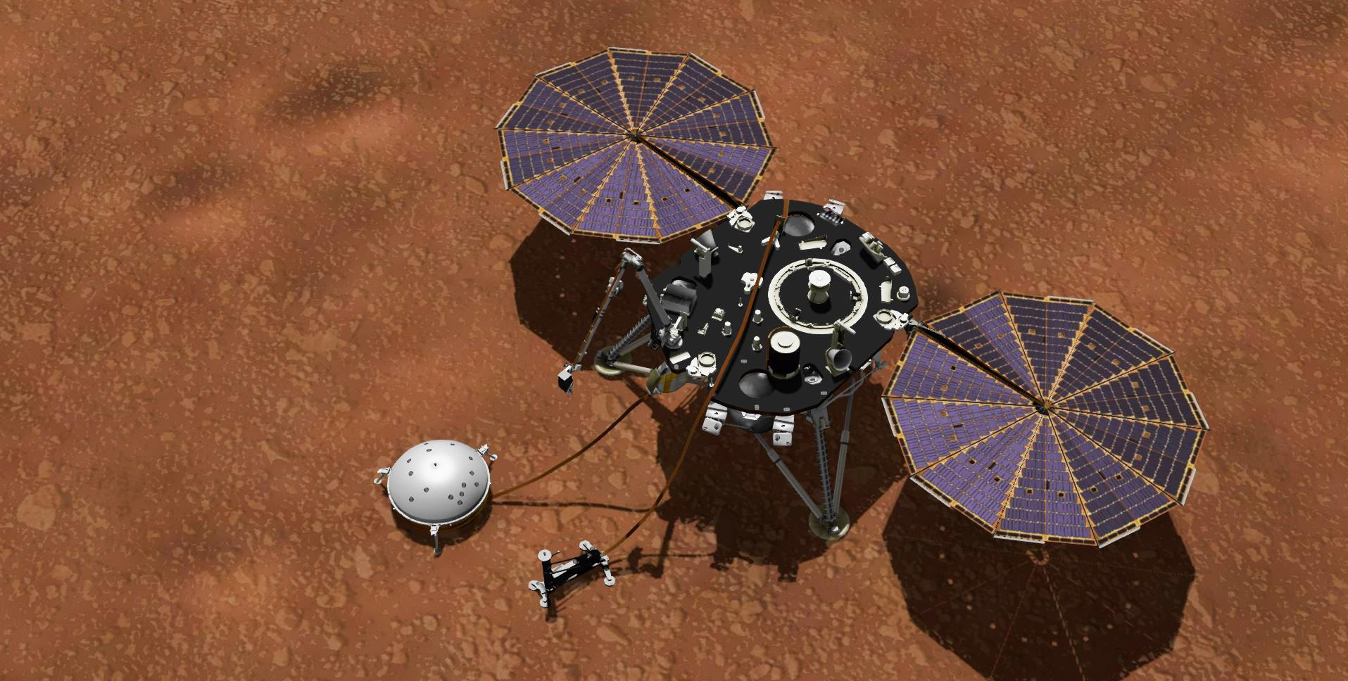 This artists concept shows NASAs InSight lander with its instruments deployed on the Martian surface. Several of the sensors used for studying Martian weather are visible on its deck.
