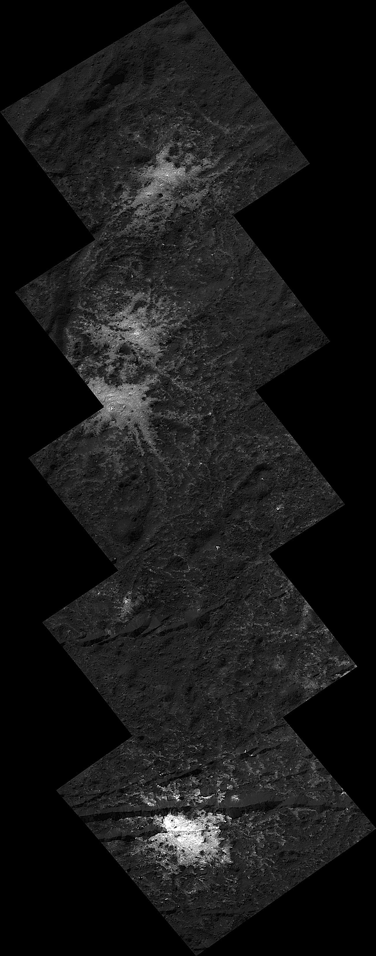 This image montage of stars found on the floor of Ceres Occator Crater was obtained by NASAs Dawn spacecraft in June, 2018 from an altitude of about 21 miles (34 kilometers).