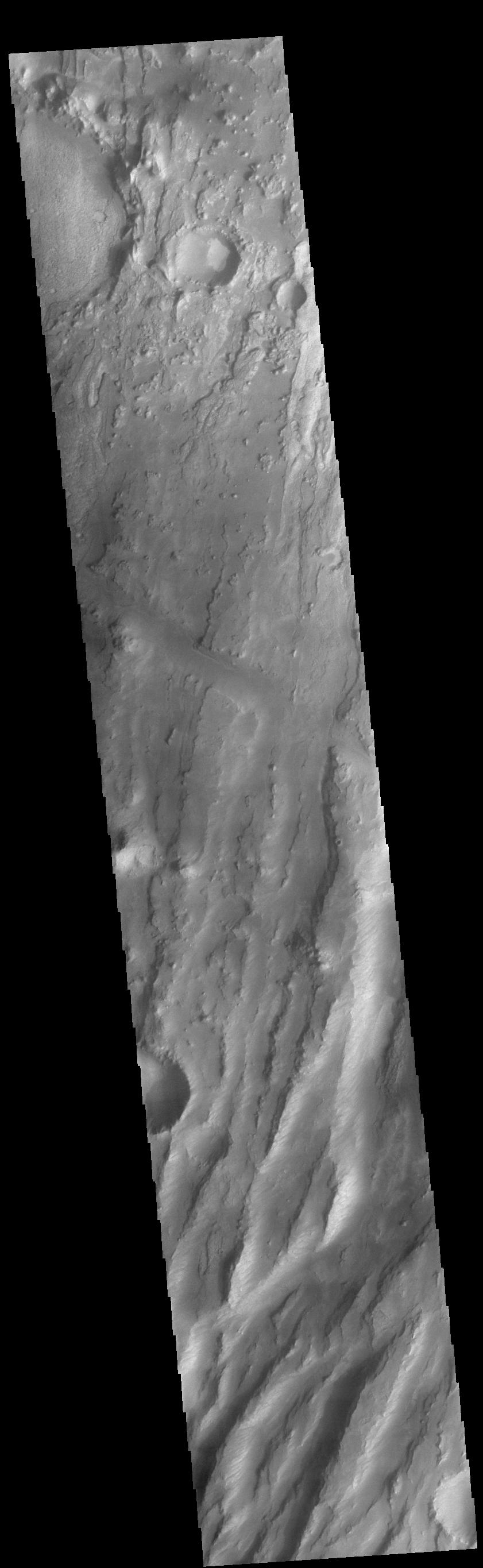 This image from NASAs Mars Odyssey shows part of Claritas Fossae. The linear features (fossae) are flaults.