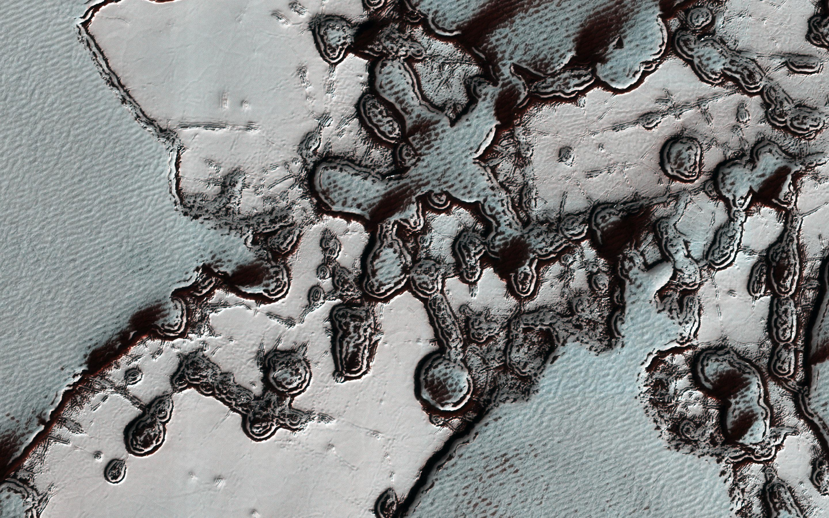 This image acquired on January 19, 2019 by NASAs Mars Reconnaissance Orbiter, shows the rapid changes in the south polar residual cap of carbon dioxide ice.
