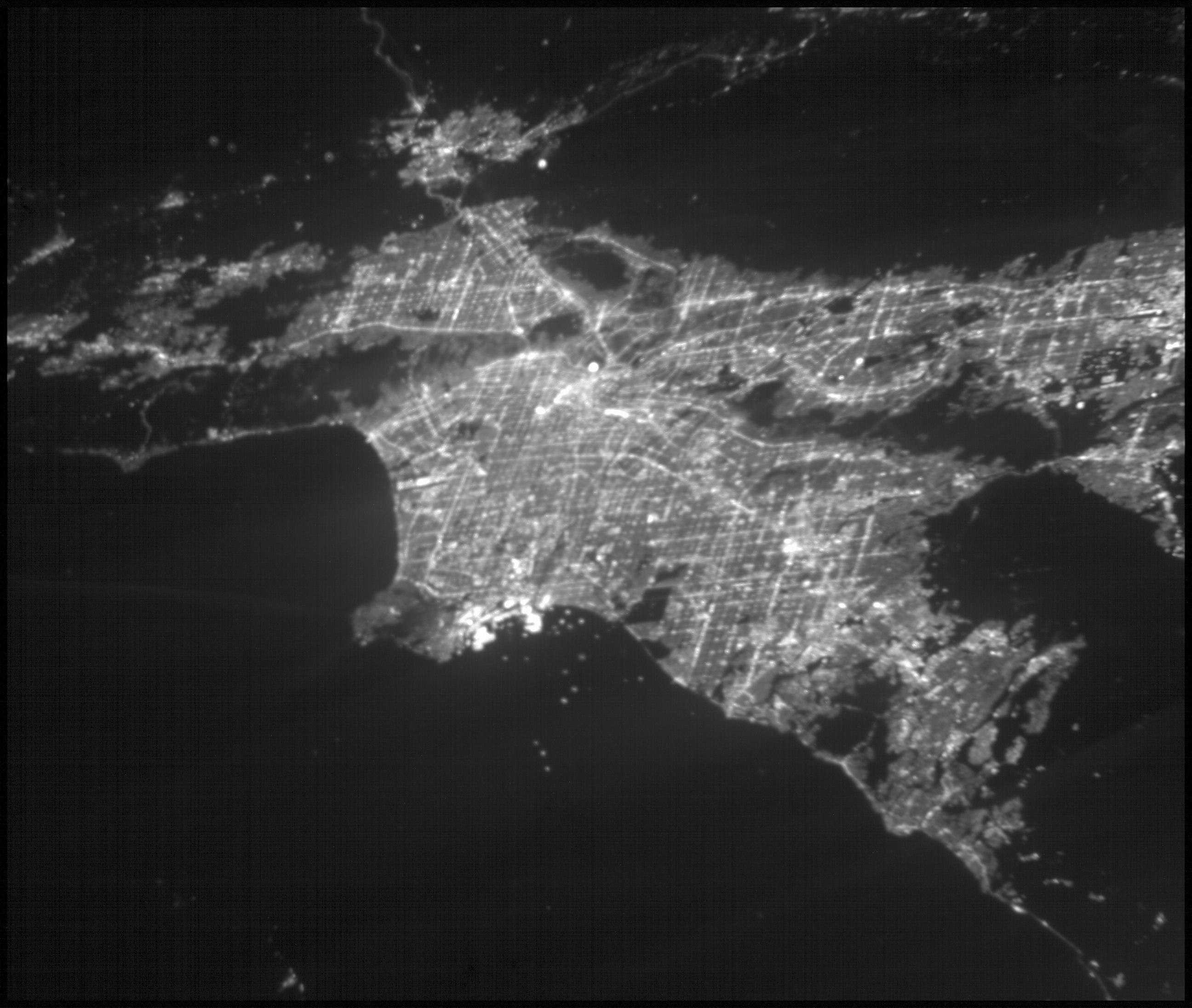 This image of the greater Los Angeles area was taken on March 29, 2019 by ASTERIA, the Arcsecond Space Telescope Enabling Research in Astrophysics satellite. The Port of Long Beach is visible near the center of the image.