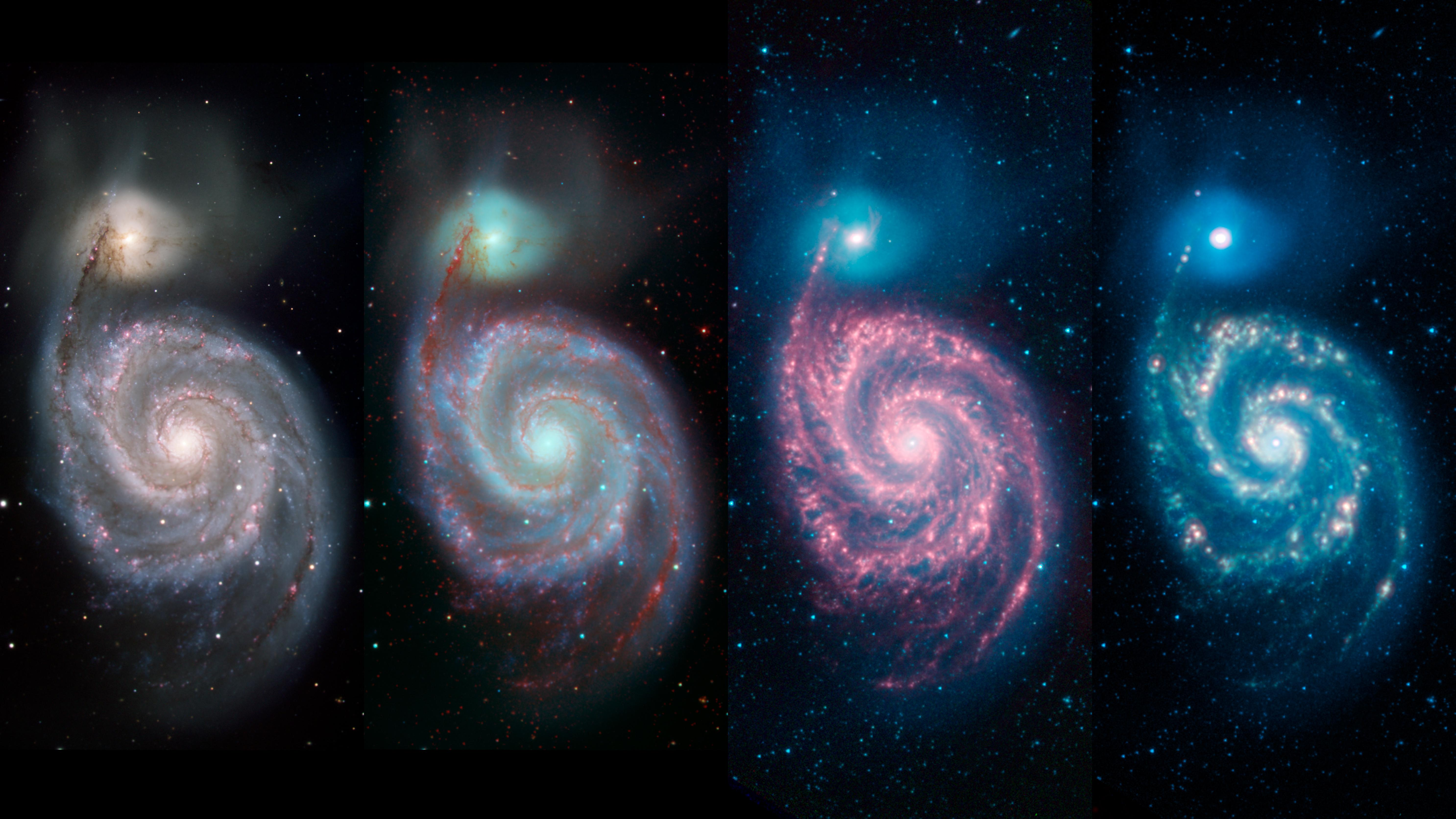 This multipanel image by NASAs Spitzer Space Telescope shows how different wavelengths of light can reveal different features of a cosmic object.