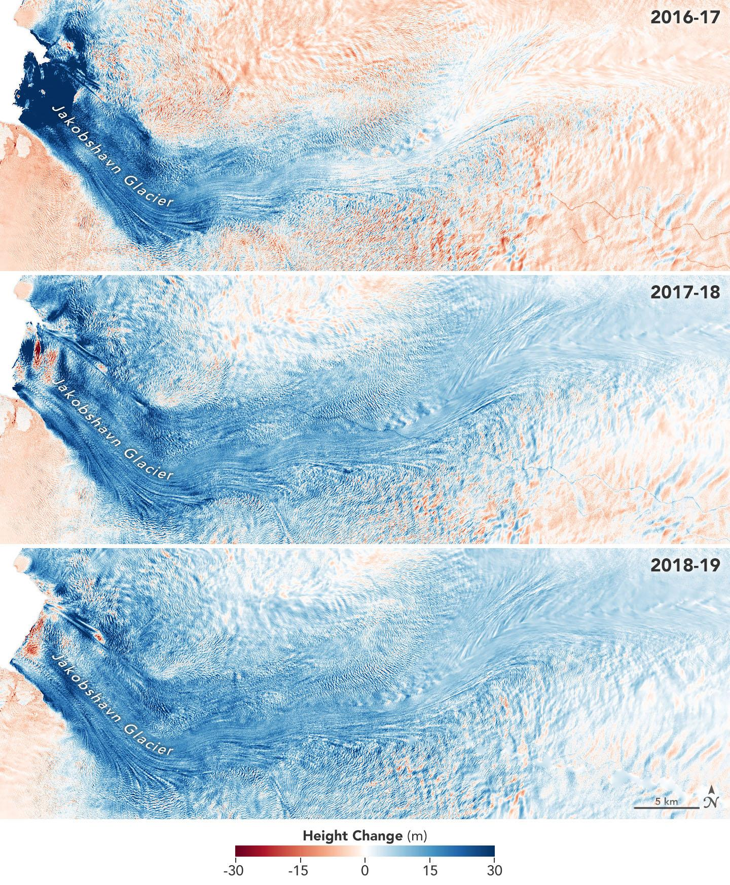 These images from NASAs Oceans Melting Greenland (OMG) mission, show the mass Greenlands Jakobshavn Glacier has gained from 2016-17, 2017-18 and 2018-19.