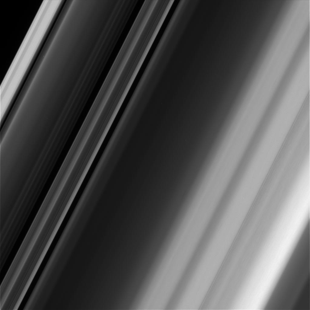 This image of Saturns rings, taken by NASAs Cassini spacecraft, illustrates how textures in the rings can differ, even in close proximity.