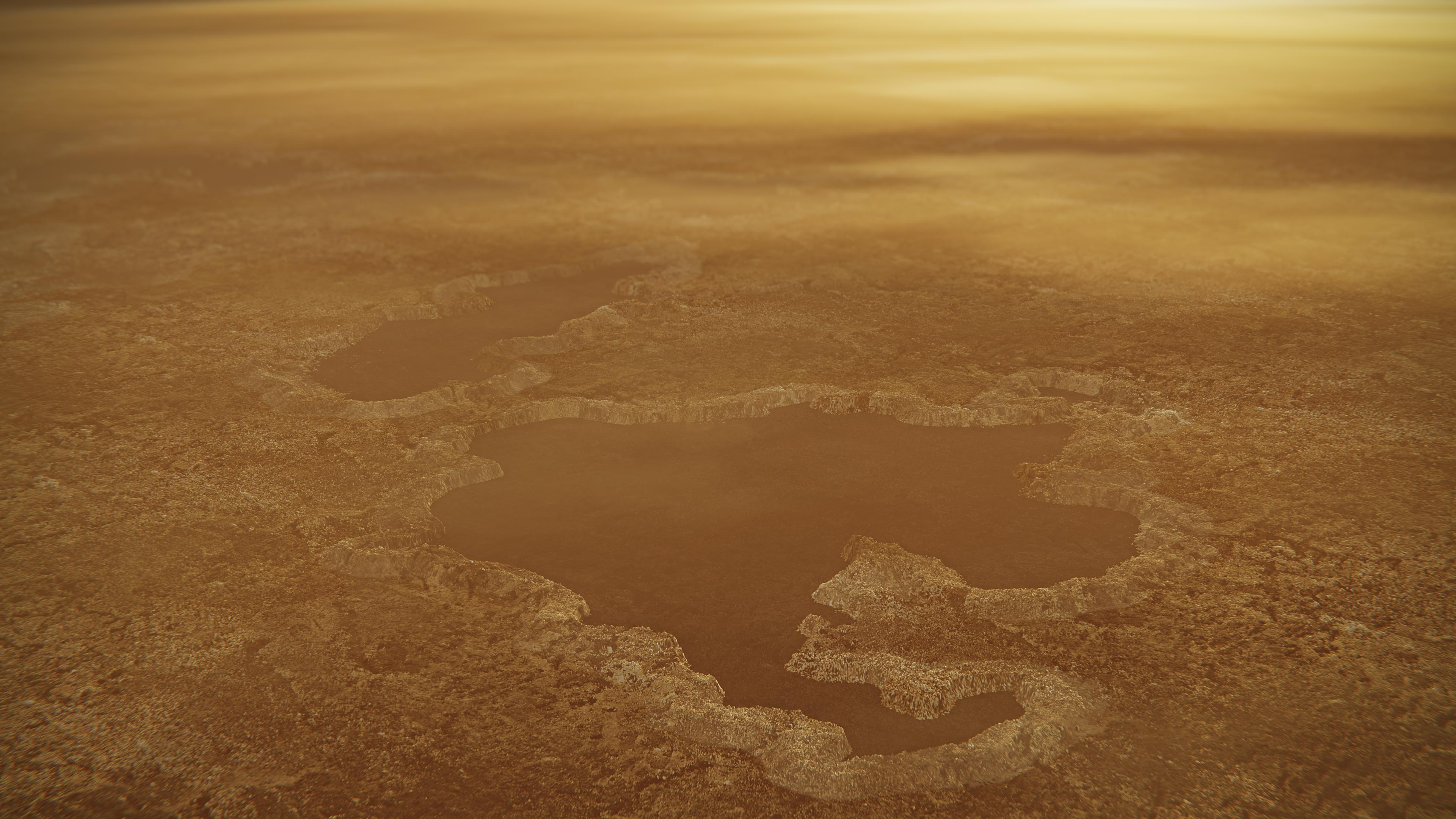 This artists concept of a lake at the north pole of Saturns moon Titan illustrates raised rims and rampartlike features such as those seen by NASAs Cassini spacecraft around the moons Winnipeg Lacus.