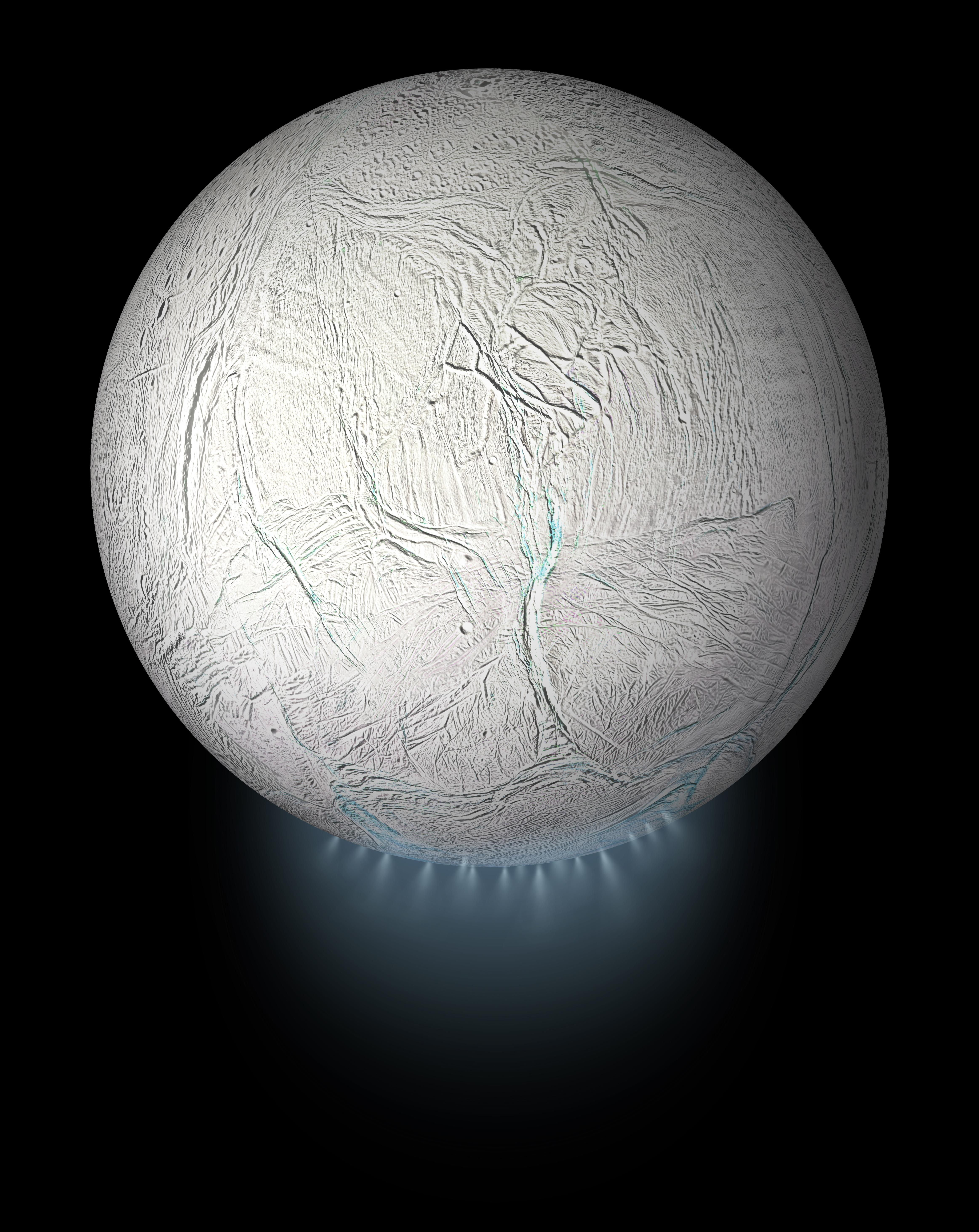 This illustration shows Saturns icy moon Enceladus with the plume of ice particles, water vapor and organic molecules that sprays from fractures in the moons south polar region.