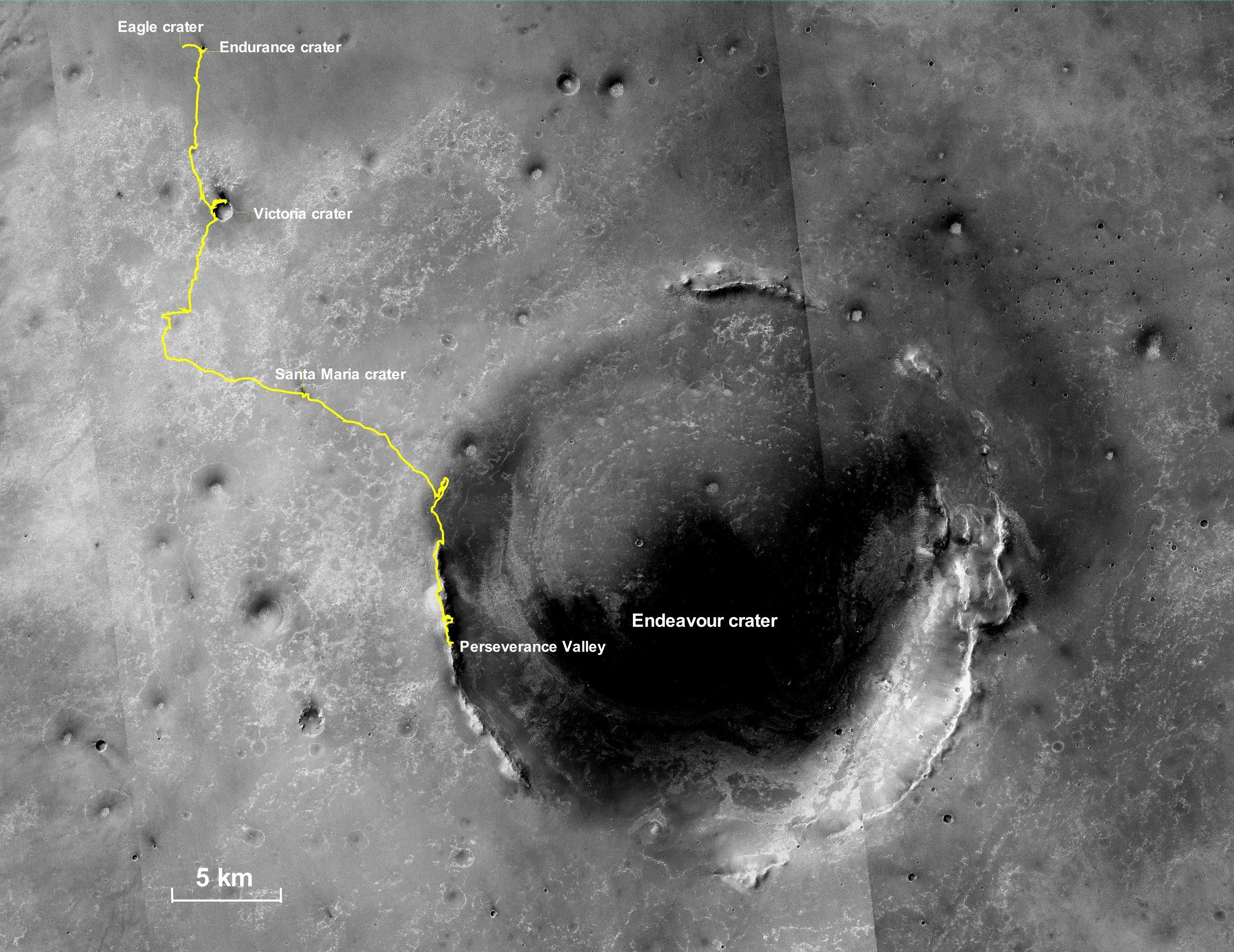 This is the final traverse map for NASAs Opportunity rover, showing where the rover was located within Perseverance Valley on June 10, 2018, the last date it made contact with its engineering team.