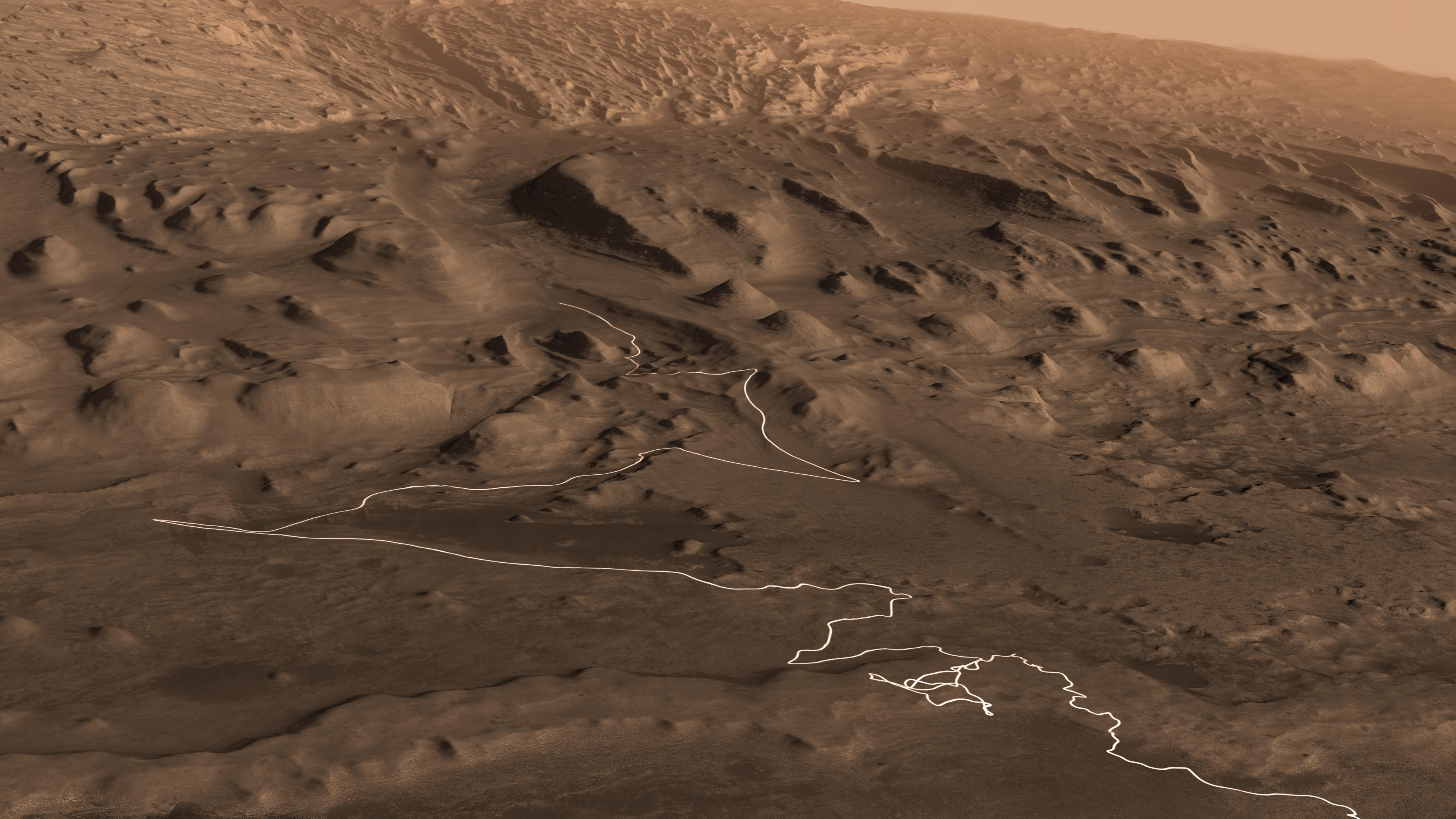 This animation shows a proposed route for NASAs Curiosity rover, which is climbing lower Mount Sharp on Mars.