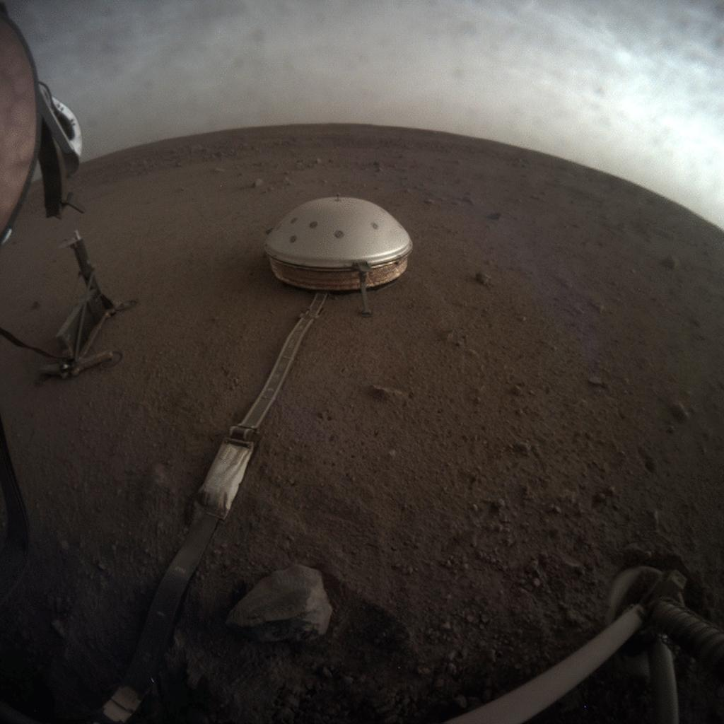 NASAs InSight used its Instrument Context Camera (ICC) beneath the landers deck to image these drifting clouds at sunset. This series of images was taken on April 25, 2019.