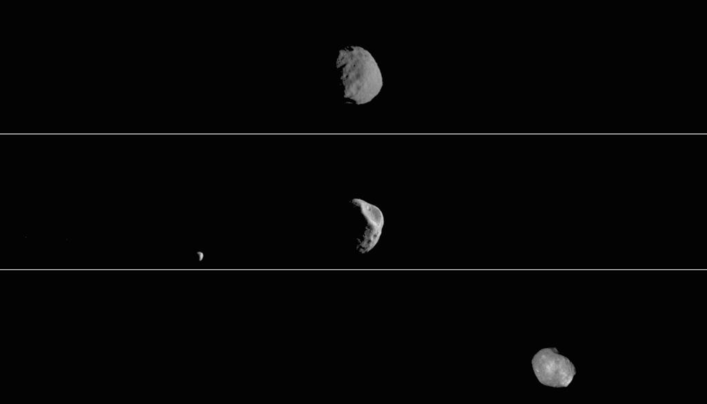 Each of the three panels is a series of images taken on different dates. Deimos, Mars other moon, can also be seen in the second panel.