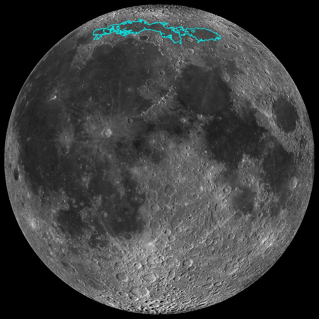 New surface features of the Moon have been discovered in a region called Mare Frigoris. This image is a mosaic composed of many images taken by NASAs Lunar Reconnaissance Orbiter (LRO).